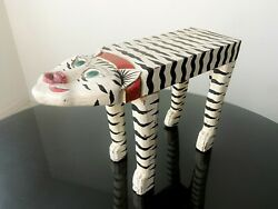 1950s Folk Art Cat Stool Wooden Carved Vintage Primitive Collectible Eclectic