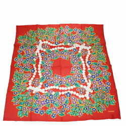 Large Size Scarf Accessory Pattern Red Silk No.4155