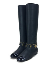Long Boots Blk Leather Shoes Previously Owned Free Shipping No.4404