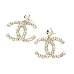 Gold Plating Rhinestone Pearl Piercing Womenand039s Previously Owned No.4997