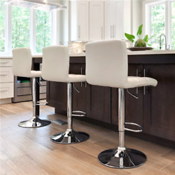 Set Of 2 Bar Stools Swivel Adjustable Bar Chair Modern Pu Leather Dining Chairs