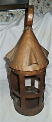 Antique Mission Arts Crafts Hammered Copper Usa Revere Candle Lantern Home Lamp