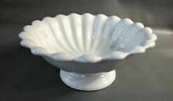 Antique White Ironstone Compote Fluted Pedestal Bowl Excellent England 1865