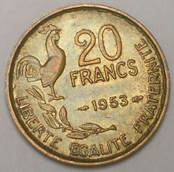 1953 France French 20 Francs Rooster Coin Vf+