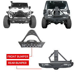 High Quality Front + Rear Bumper W/spare Tire Carrier For Jeep Wrangler Jk 07-18