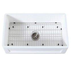 Gourmetier Farmhouse Kitchen Sink With Strainer And Grid Kgkfa331810sq