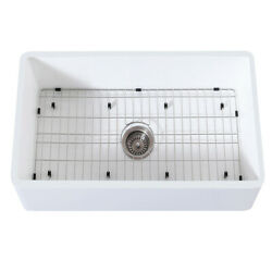Gourmetier Farmhouse Kitchen Sink With Strainer And Grid Kgkfa301810bc