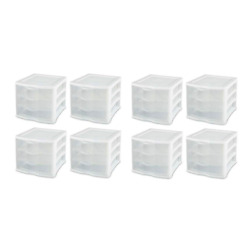 Sterilite Clearview Compact Portable 3 Storage Drawer Organizer Cabinet 8 Pack