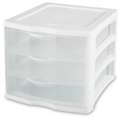 Sterilite Clearview Compact Portable 3 Storage Drawer Organizer Cabinet, 20 Pack
