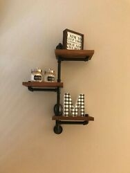 Wall Mounted Burnt Wood And Industrial Style Pipe 3-tier Display Shelf Shelving Un