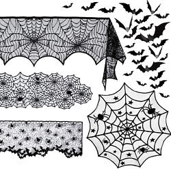 5 Pack Halloween Spider Decorations Sets -halloween Fireplace Mantel Scarf And Rou