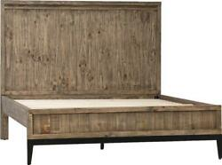 Cahill Bed Queen Washed Out Black Tan Reclaimed Pine Wood