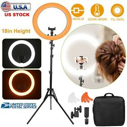 18 Led Ring Light Dimmable Kit Stand 5600k For Makeup Phone Camera Youtube Live