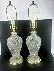 Vintage English Crystal Cut Glass Ginger Jar Lamps Set Of Two