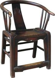 Arm Chair Antique Chinese Asian Painted Distressed Old Elm Reclaimed Wood