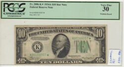 10 1934a Fed Res Star Pcgs Vf 30 Dgs Dallas K One Of Two Known