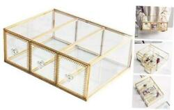 Antique Beauty Display Jewelry Case Holder Clear Glass 3 Drawers Palette