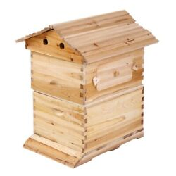 7x Automatic Flow Honey Beehive Frame Beekeeping Brooding Beehive Wooden Box Set