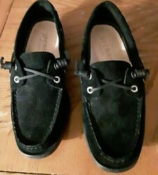 Black Top Sider Sperrys--size 6 Lace Free---slip Ons--super Clean