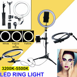 10 Led Selfie Ring Light With Tripod Phone Holder Stand For Makeup Live Stream