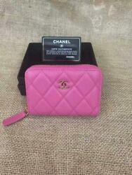 Small Wallet Rare Color Pink Sold Out Caviar Skin Almost Unused Japan F/s