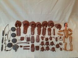 Marx Johnny West Indian Accessories And Chief Cherokee Parts, Over 50 Pieces