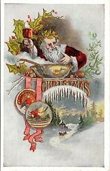 Vintage 1910's Santa Claus Drinking Wine And Getting Drunk Christmas Postcard Rare