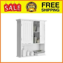 Wall Mount Bathroom Cabinet Storage Organizer Medicine Cabinet With 2-doors And