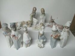 11 Piece Lladro Porcelain Christmas Nativity Set W Ox Mule And Lady W Chicken