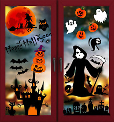 100 Pcs Halloween Window Clings Halloween Window Decals Removable Stickers for