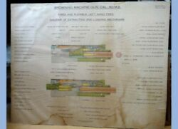 1935 Antique Browning Machine Gun Cal 50 M2 Diagram 29 X36in Litho Poster Linen