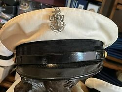 Vintage Us Navy Chief Petty Officer White Combo Hat Cap Wwii Era Pin Rare Maker