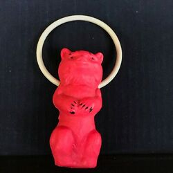 Vintage Cat Celluloid Baby Rattle With Ring Great Condition