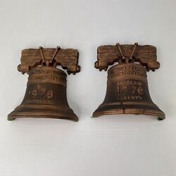 Cast Iron Liberty Bell Bicentennial Bookends Wilton Products Inc. Wb16 1776 1976