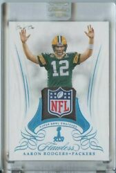 1/1 Aaron Rodgers 2019 Panini Flawless Super Bowl Swatches Nfl Logo Patch 1/1