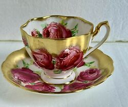 Queen Anne England Tea Cup And Saucer Large Pink Cabbage Roses Heavy Gold