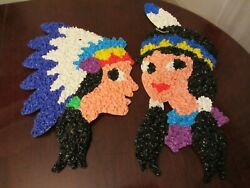 Vintage Set Of 2 Popcorn Plastic Wall Art Thanksgiving Boy And Girl Indians