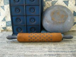 Antique Wood Rolling Pin Cupboard Blue Paint Star Stencil