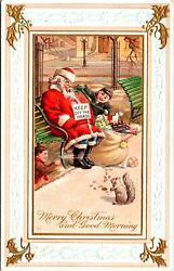 Vintage Santa Claus Asleep On A Bench Christmas Day With Children Postcard Rare