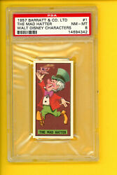 1957 Barratt And Co 1 The Mad Hatter, Disney Characters, Psa 8 Nm - Mt 14694342
