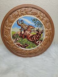 Original King Stoneware From Germany Hunting 3d Plate