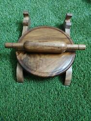 Wooden Chakla Belan With Stand | Rolling Board And Pin For Kitchen Use