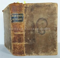 1854 Antique Ainsworth English Latin Dictionary Leath Own Griffith Wilmington De