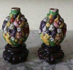A Pair Of Chinese Antique ' Luohan' Snuff Bottles