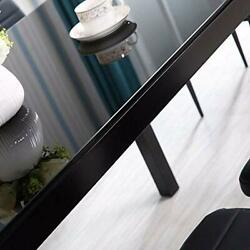Ids Online 7 Pieces Modern Glass Dining Table Set Faxu Leather With 6 Chairs Bla