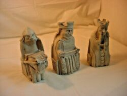 Medieval Figurine King Queen Knight 3 Piece Lot Celtic Statues