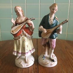 Vtg Victorian Musical Couple Man Woman Occupied Japan Figurines Gold Guitar
