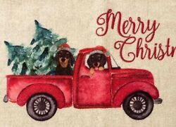 Christmas Dachshund🎄red Truck Accent Rug Floor Mat Holidays Wiener Dogs New
