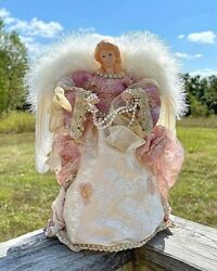 Vintage Porcelain Christmas Angel Tree Topper /table Top Authentic Feathers