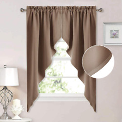 Nicetown Blackout Pole Pocket Kitchen Tier Curtains - Tailored Scalloped Valance